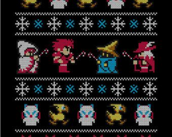 Womens Winter Fantasy 8 Bit Final Fantasy Gaming Gamer Ugly
