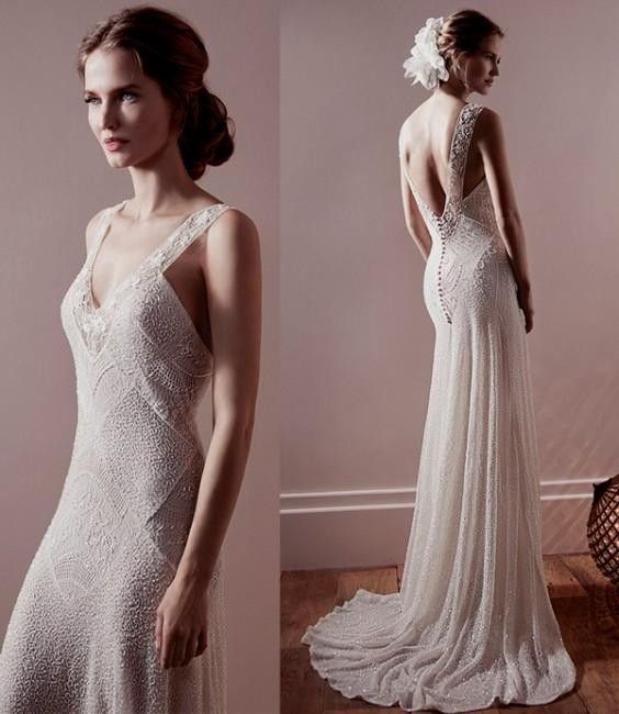 Backless wedding dresses tulle chantilly the aisle for Vintage backless wedding dresses