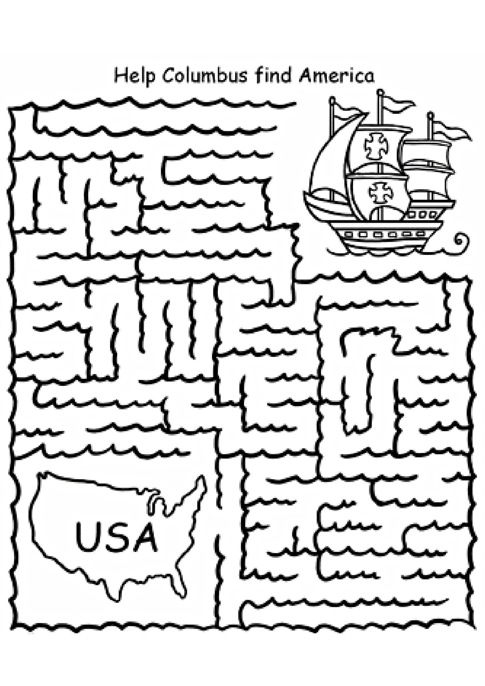 Printable Columbus Day Coloring Worksheets   Printable Worksheets and  Activities for Teachers [ 2338 x 1654 Pixel ]