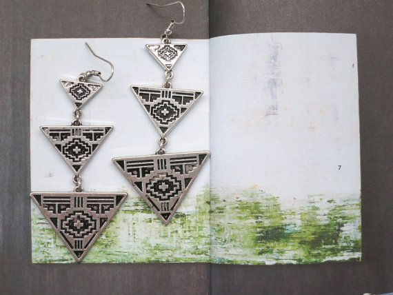 Vintage Silver Boho Tribal Geometric Triangle by AccessoriesG, $2.20
