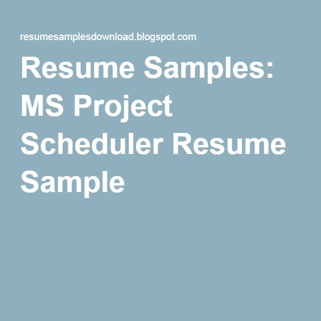 Ms Project Scheduler Resume Sample Resume Best Resume Project Status Report