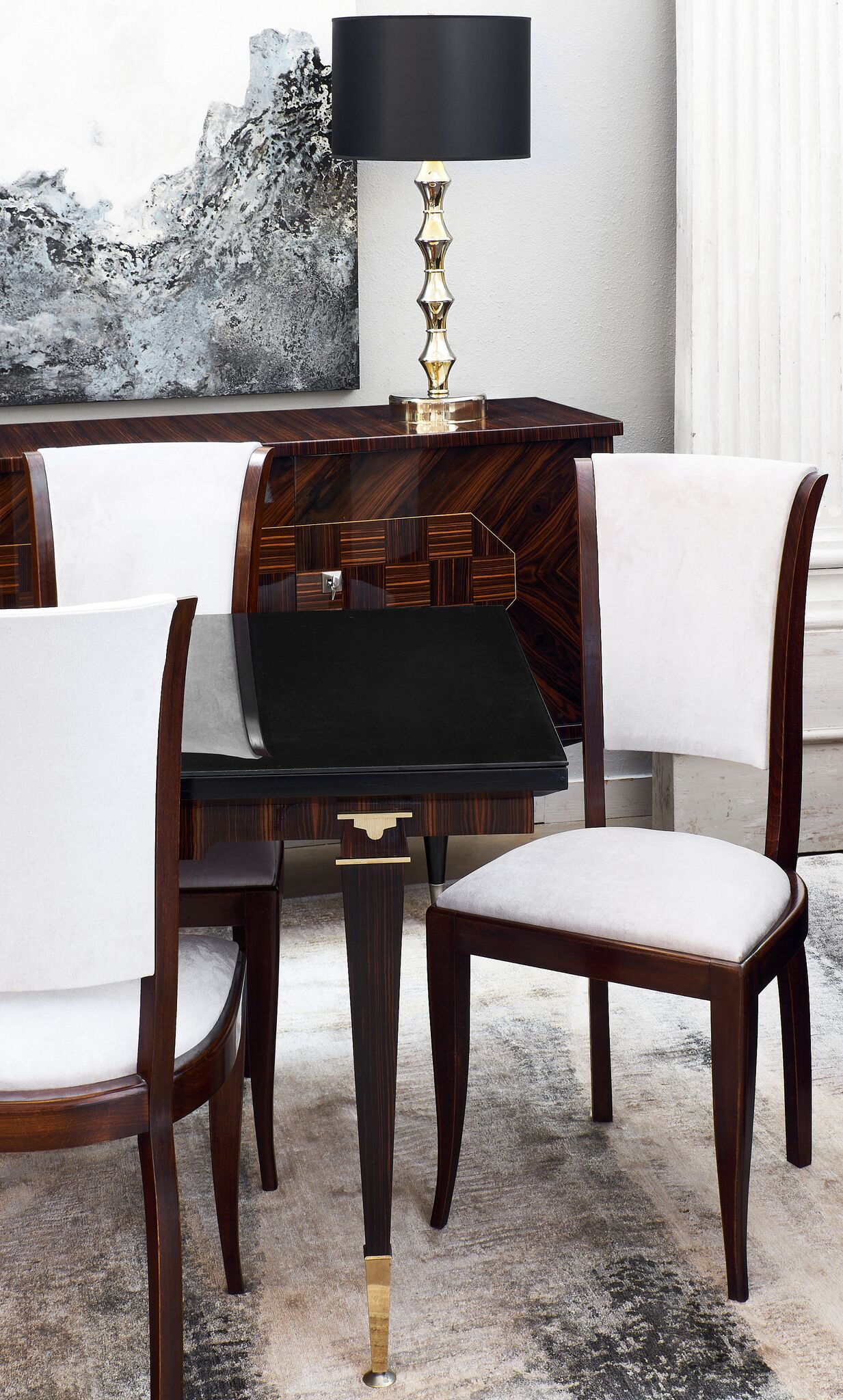 Art Deco Dining Chairs With Mid Century Modern Macassar Of Ebony Table And Buffet