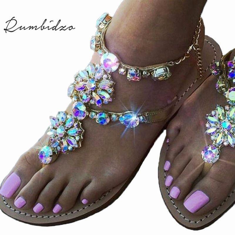 b7d25e82d Rumbidzo 2018 New Bohemian Women Sandals Crystal Flat Heel Sandalias Rhinestone  Chain Women Shoes Thong Flip Flops Zapatos Mujer-in Women s Sandals from ...