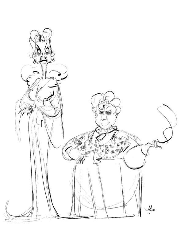 Aunt Spiker and Sponge from James and the Giant Peach by