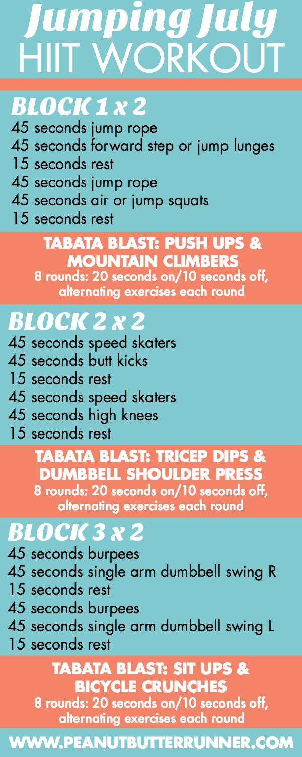 Jumping July Hiit Workout Playlist Workouts Pinterest Tabata Hour Circuit This 35 Minute Features Blocks Of 45 Second Intervals Followed By Blasts Get Ready For A Ton And Sweating Total Body