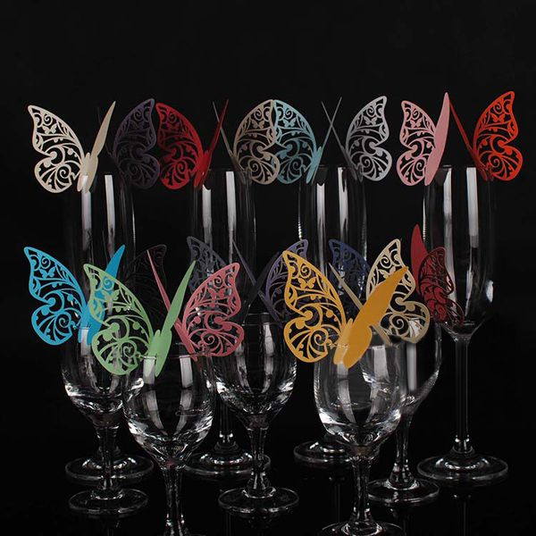50PCS Laser Cut White Butterfly Heart Name Place Card for Wedding Champagne Wine Glass Party Favour Table Number Decoration
