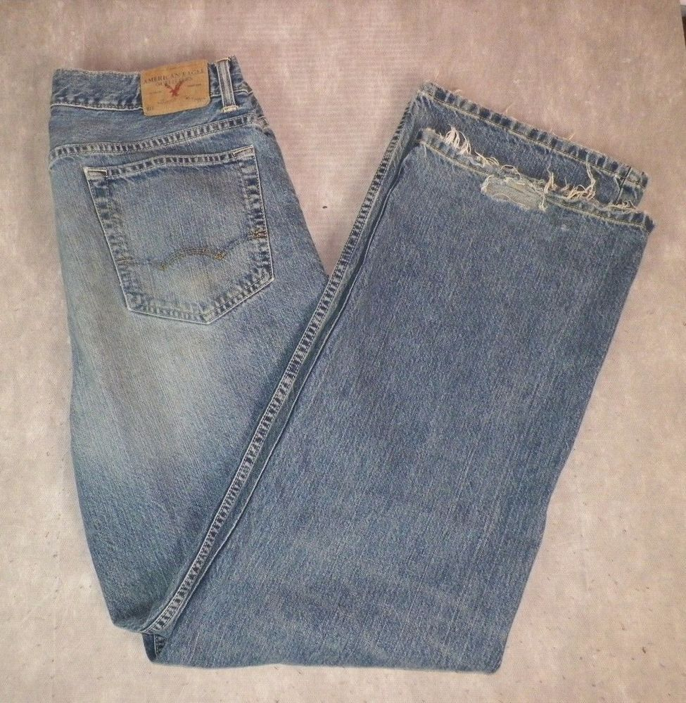 American Eagle Mens Relaxed Straight Leg Distressed Jeans 32x32 Grunge Denim #AmericanEagleOutfitters #RelaxedStraightLeg