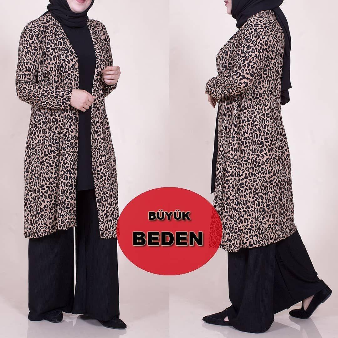 Buyuk Beden Leopar Desenli Uclu Takimimizin Guzelligi 64 Bedene Kadar Beden Fashion Hijab Fashion Maxi Dress