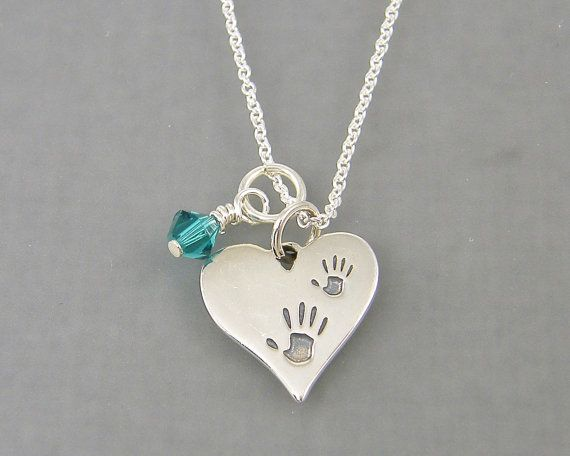 Hand print necklace birthstone jewelry mothers necklace sterling hand print necklace birthstone jewelry mothers necklace sterling silver mother child pendant heart handprint family necklace aloadofball Images