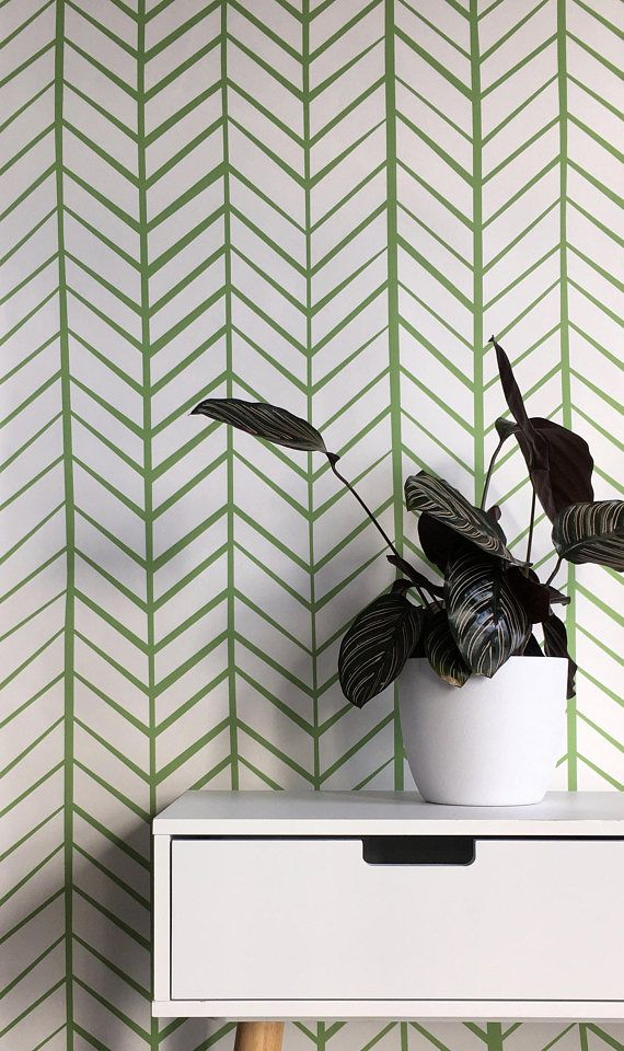 Removable Wallpaper Peel And Stick Wallpaper Herringbone Etsy Herringbone Wallpaper Removable Wallpaper Green Wallpaper