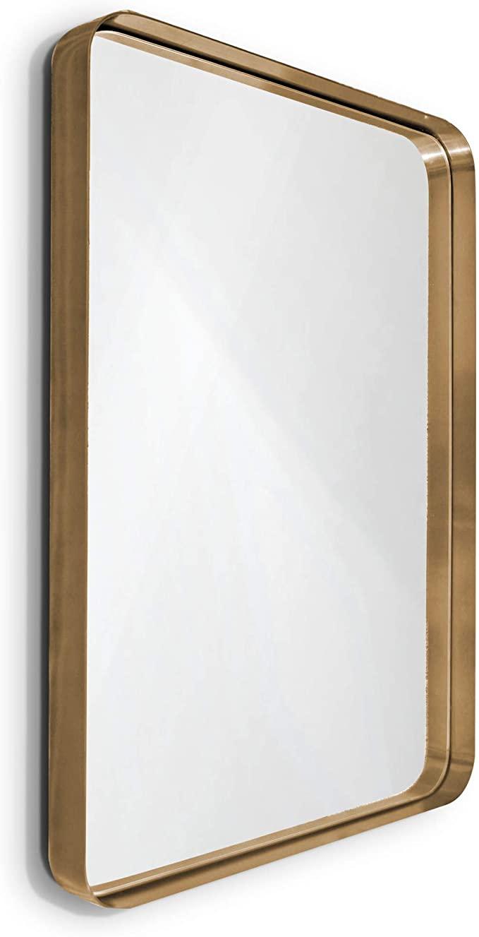 139 99 Amazon Com Wallcharmers Gold Mirror 22x30 Brushed Brass Hangs Horizontal Or Vertical Bathroom Mir Gold Vanity Mirror Gold Mirror Bathroom Big Mirror