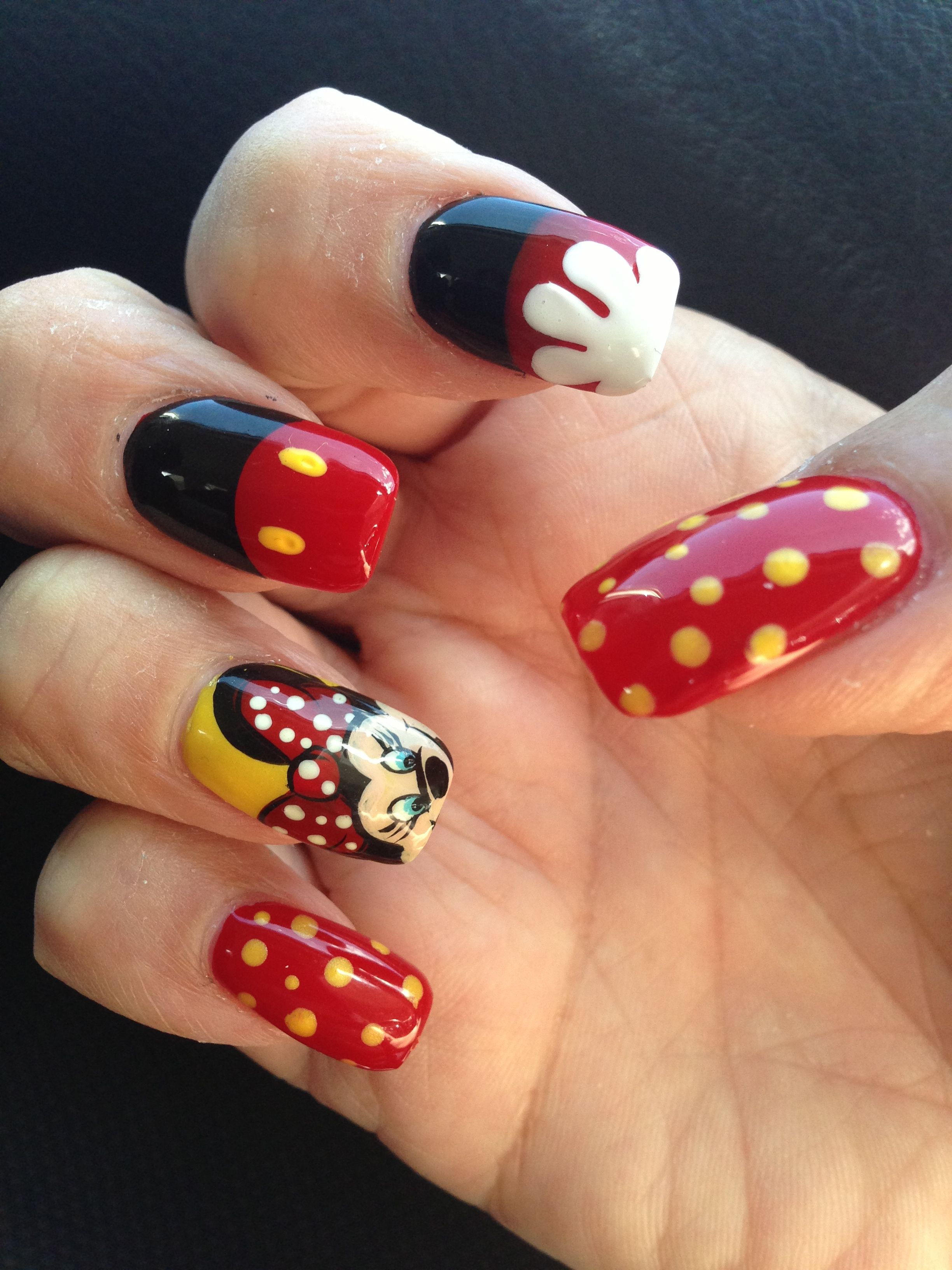 Disney nail art. Instead of red and yellow use orange ...