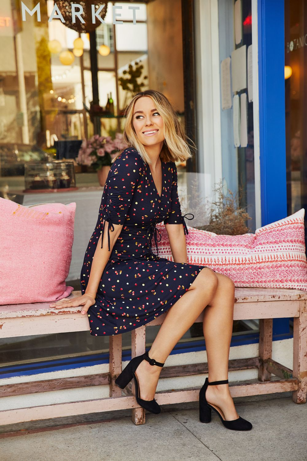 a5e14fe7db57 Lauren Conrad wearing an LC Lauren Conrad Printed Fit   Flare Dress from the  February 2018 Collection available now at Kohl s