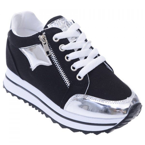 $25.55 Leisure Splicing and Zipper Design Women's Athletic Shoes