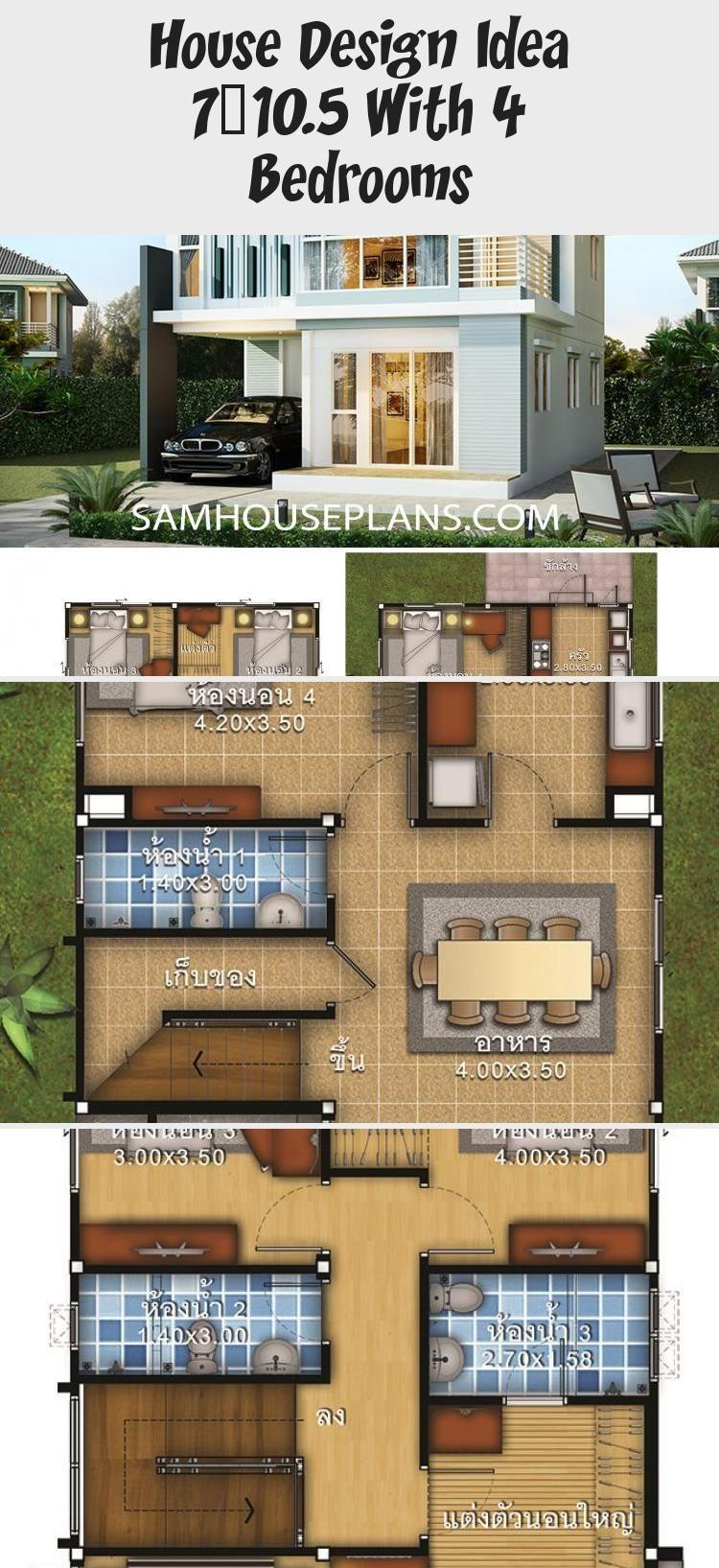 House Design Idea 7x10 5 With 4 Bedrooms Sam House Plans Smallhouseplansinterior Smallhouseplanswithsunroom In 2020 Pool House Plans Small House Plans House Design