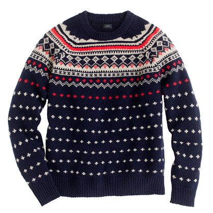J. Crew LAMBSWOOL SEASPEY FAIR ISLE SWEATER