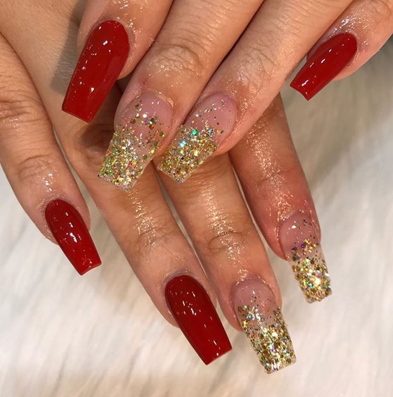 Prom Nails Gold Acrylic Nails Prom Nails Red Acrylic Nails