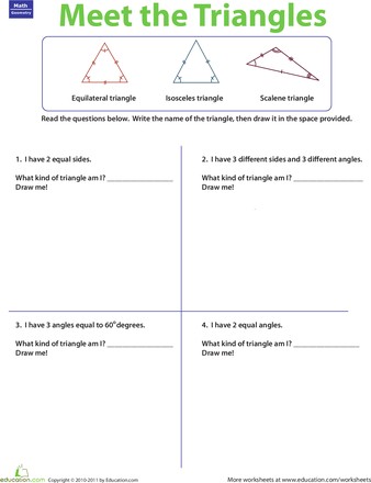 Three Types Of Triangles Worksheet Education Com Education Elementary Math Third Grade Math Worksheets Third Grade Math