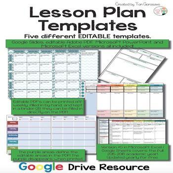 Lesson Plans Templates {Google Digital Resource} | Teacher Planners