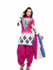 Printed Cotton Unstitched Patiala Salwar Suit - White and pink unstitched cotton dress material with decorative embroidered yoke is just perfect for casual wear. Polka dots dupatta makes this dress look beautiful. This dress can be customized upto Full Length.