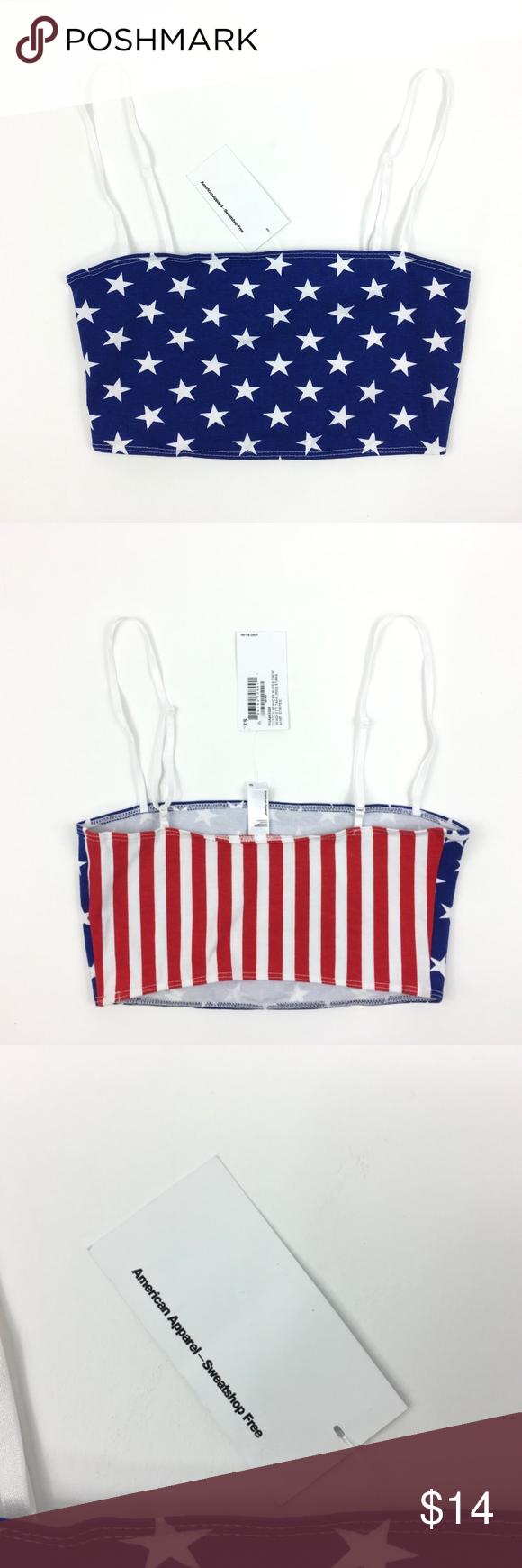 ac4c8da39f American Apparel Stars + Stripes Crop Top Bra Tank American Apparel Stars  and Stripes American flag