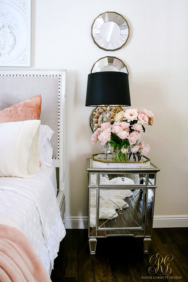 Mirrored Bedside Table With Pink Roses! Welcoming Fall Home Tour 2017    Glam Fall Bedroom