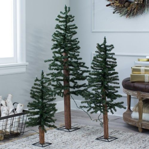 Slim Pre-lit Set of 3 Alpine Christmas Tree by Sterling Tree Company