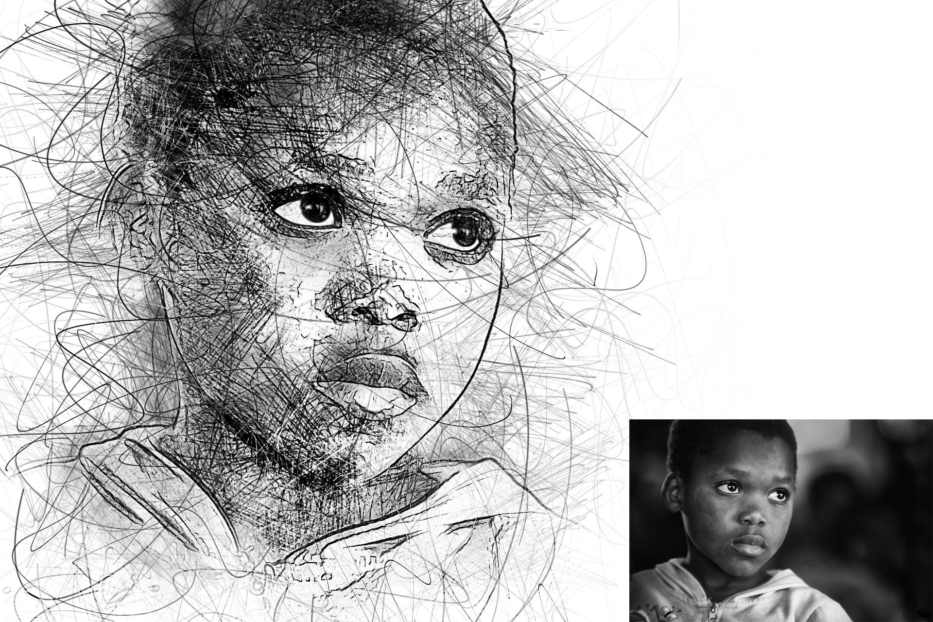 Portrait Scribble Sketch Art Photoshop Action Art Sketches