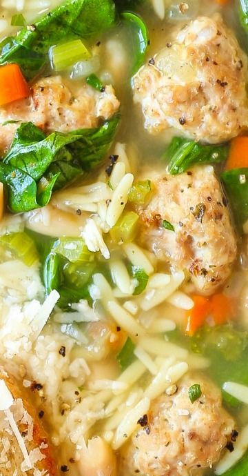 Spinach and White Bean Meatball Soup #soupandsalad