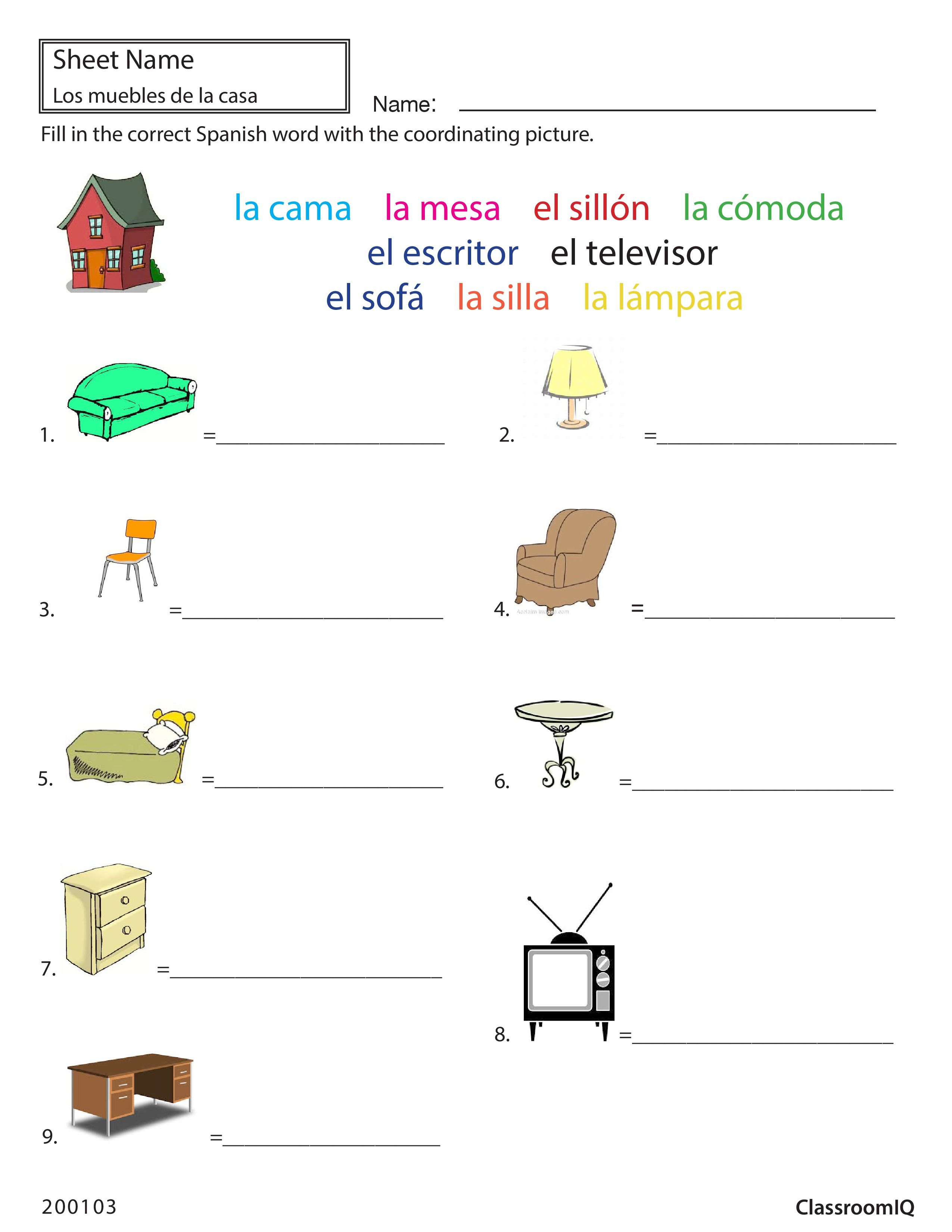 Spanish Worksheet Objects To Names Spanishworksheets