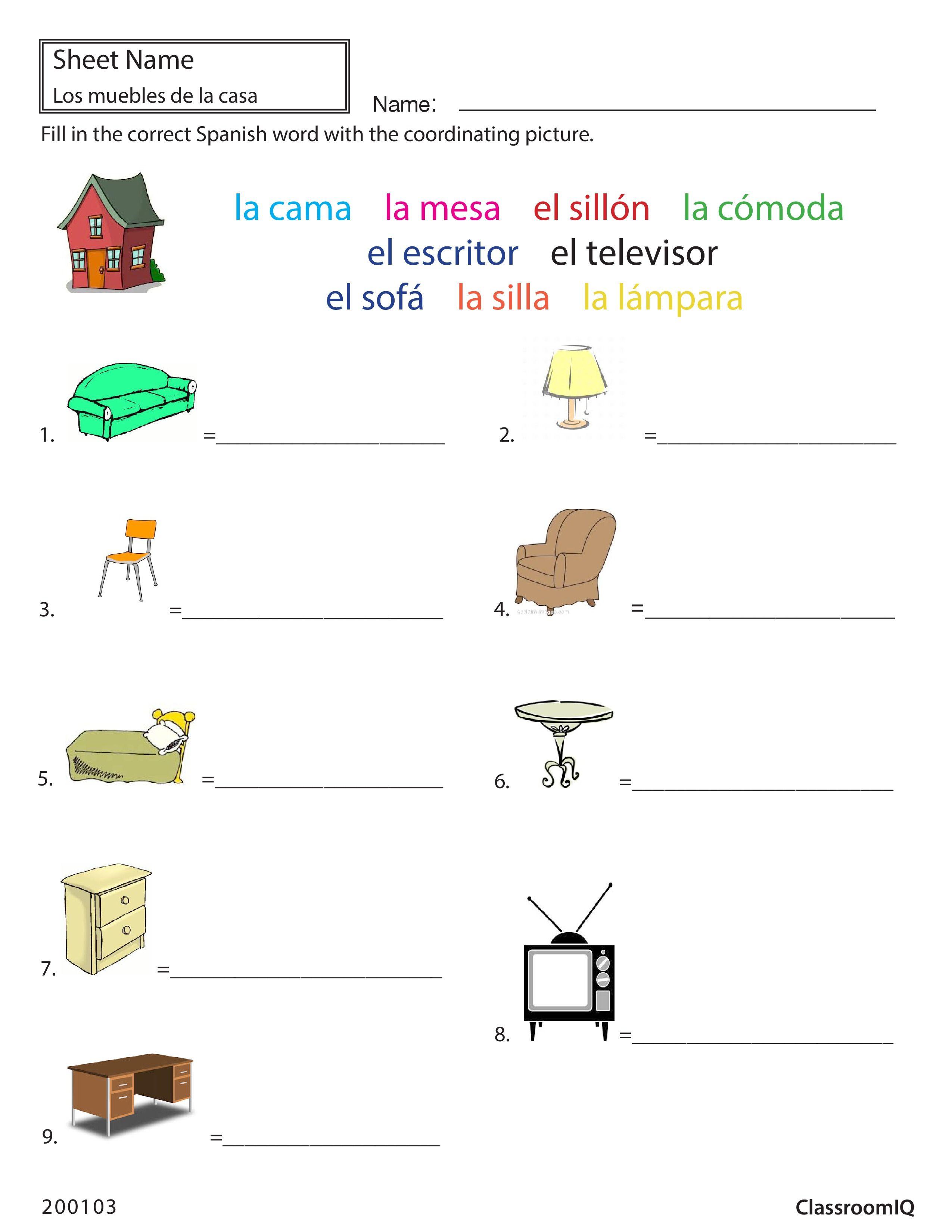 Worksheets Beginner Spanish Worksheets spanish worksheet objects to names spanishworksheets classroomiq newteachers