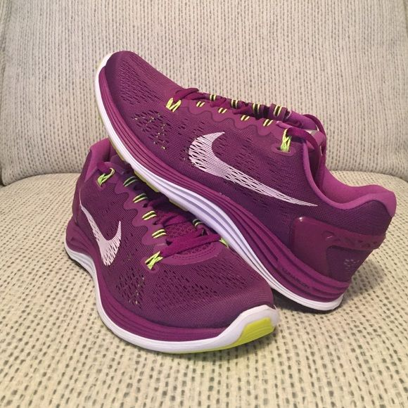 buy popular f771e dab56 Nike Lunarglide+ 5 New Nike Lunarglide+ 5 in purple green white. New in  half box (no lid) w label. I m told these run around a half size smaller.