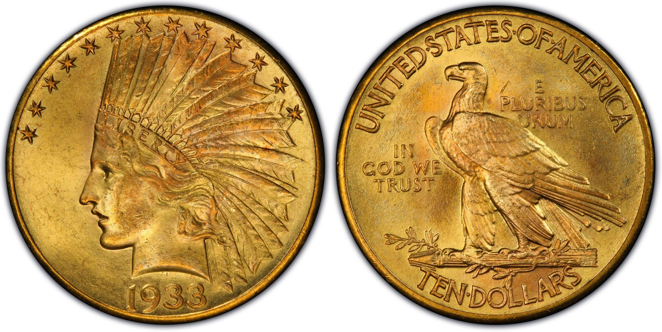 1933 10 Dollar Indian Gold Coin The Original Mintage Of The 1933 10 Dollar Gold Pieces Was High But Very Few Were Gold Coins Gold And Silver Coins Rare Coins