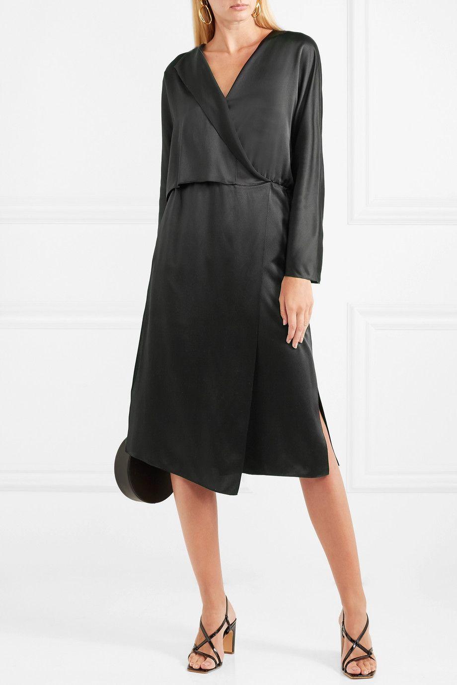 Black Wrap Effect Silk Satin Midi Dress Vince Feminist Fashion Silk Satin Satin Midi Dress [ 1380 x 920 Pixel ]