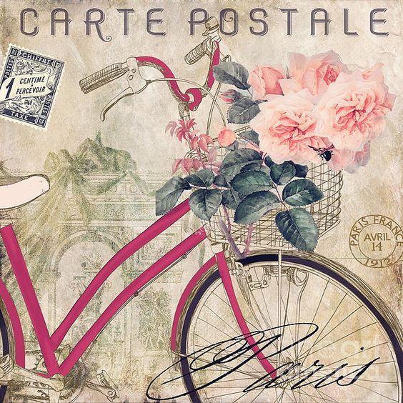 Bicycle In Paris II Print by Mindy Sommers:
