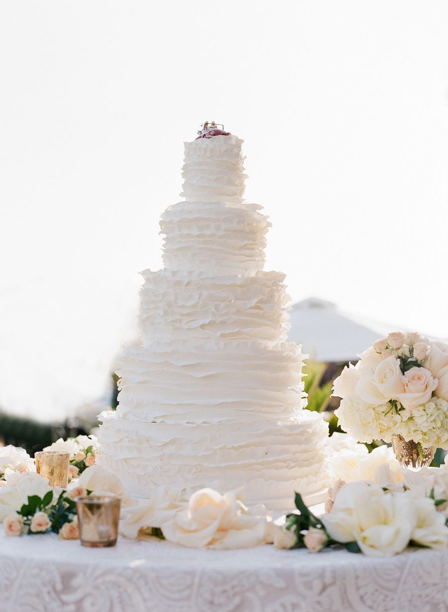 wedding cakes in lagunbeach ca%0A Frilly white wedding cake by the Butter End  http   www stylemepretty