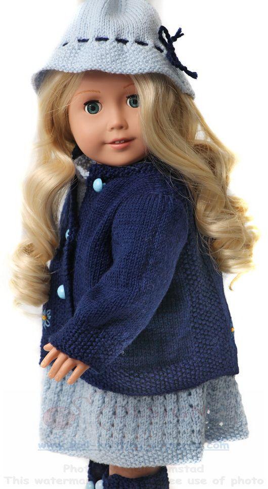 Puppenkleider stricken in hellblau und dunkelblau | Doll-knitting ...