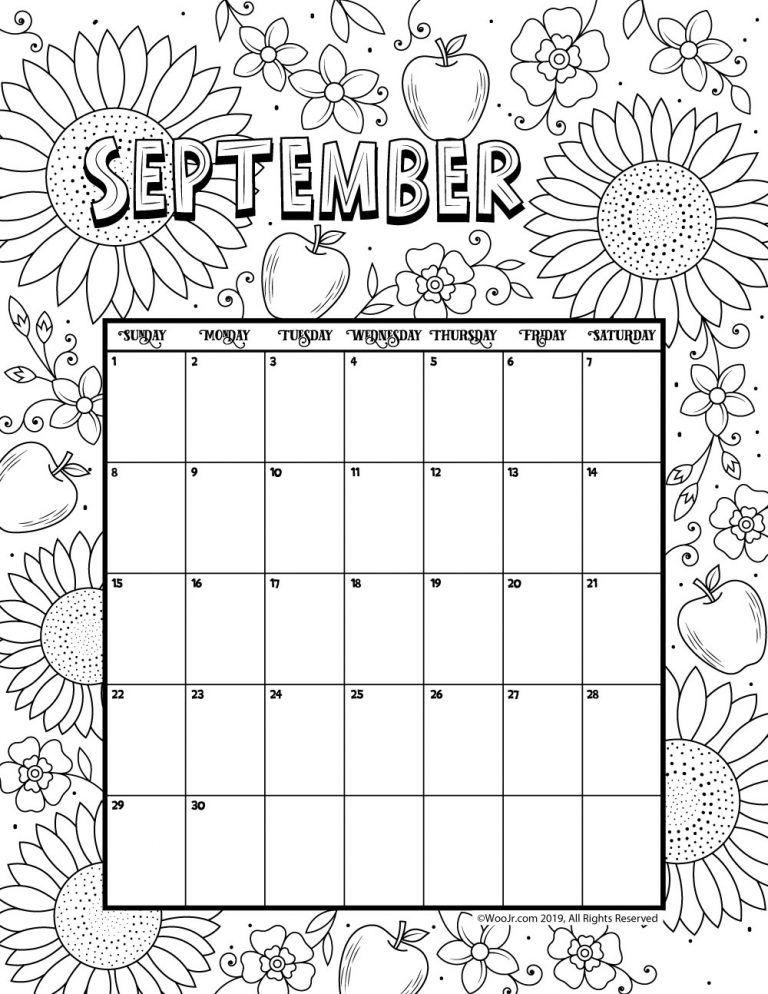 September 2019 Coloring Calendar Daycare Funcare Printable
