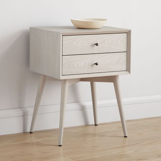 West Elm Mid Century Nightstand White Lacquer Acorn