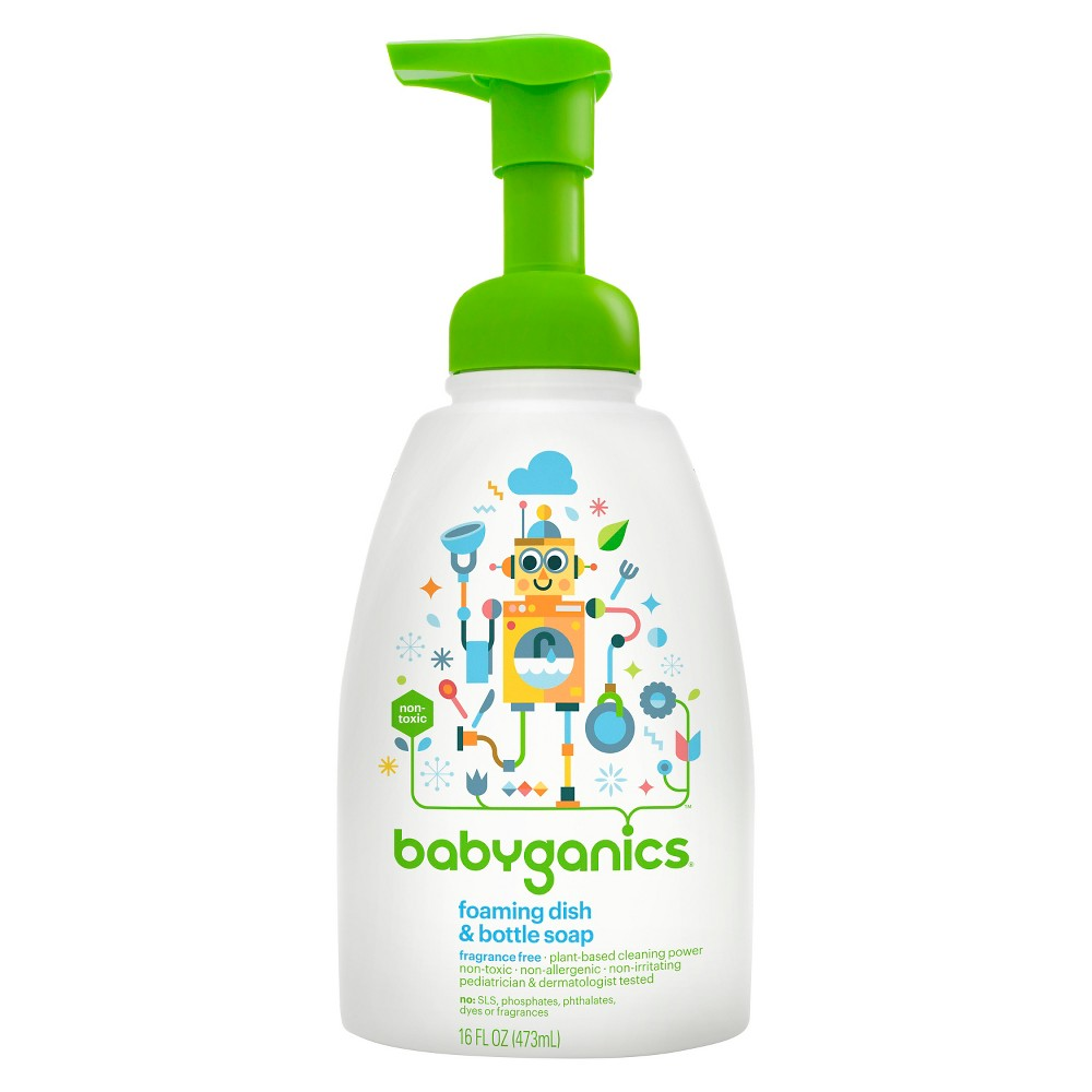 Babyganics Foaming Dish Bottle Soap Fragrance Free 16oz Safe