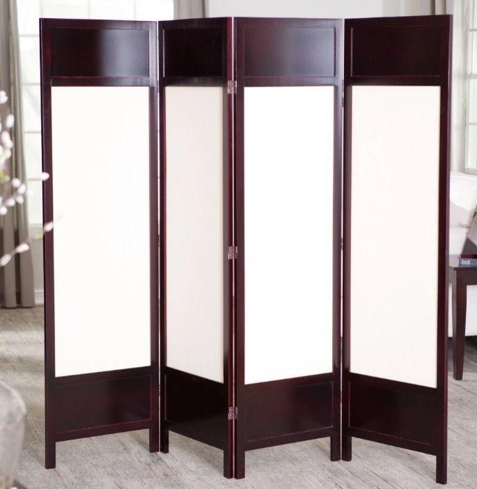 Room Divider Screen 4 Panel Wood Canvas Elegant Privacy Folding ...