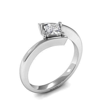 Shop 4 Prong Setting Princess Diamond Plain Engagement Ring Online