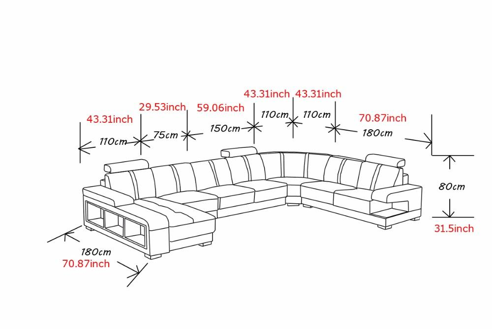 Luxury Sectional Sofa Design U Shape 7 Seater Lounge Couch Corner