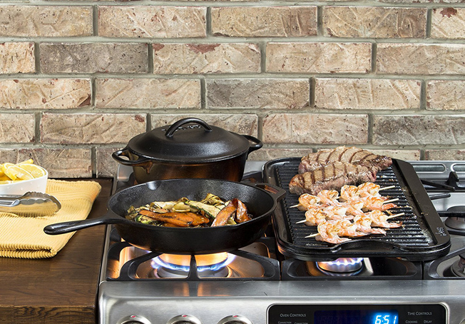 Lodge Cast Iron Pre-Seasoned Grill Pan for just $12.99 ...