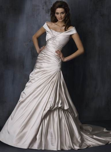 Flattering off the shoulder beads working taffeta bridal for Off the shoulder taffeta wedding dress