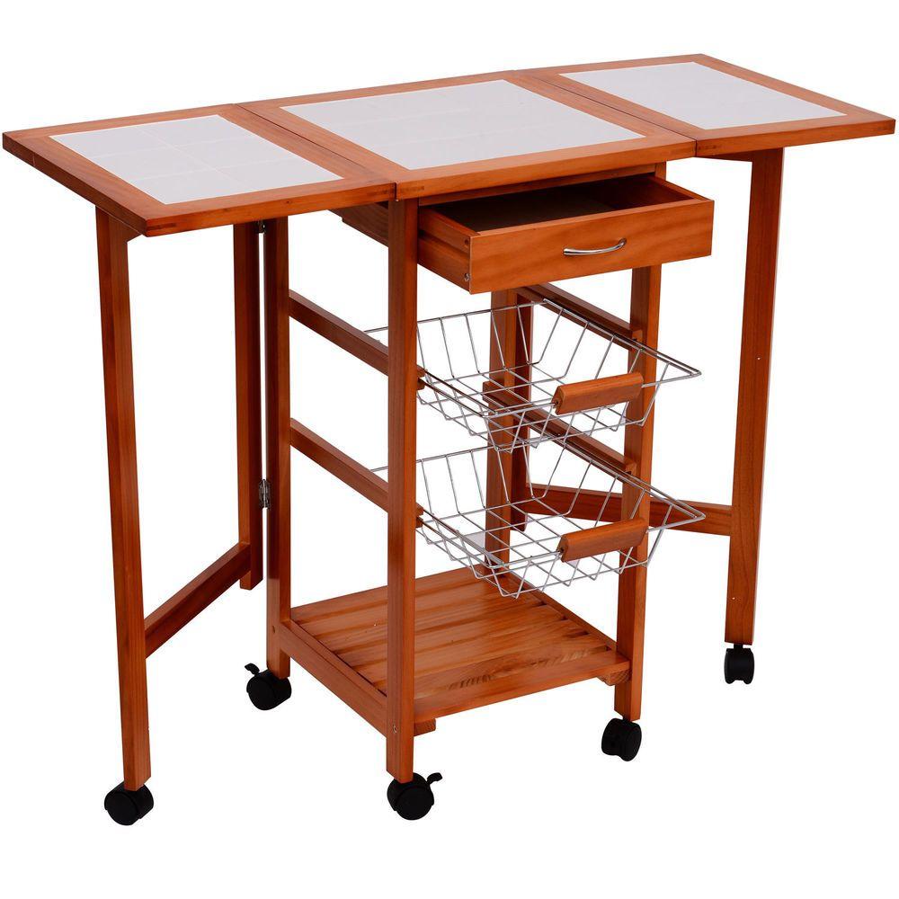 Portable Rolling Drop Leaf Kitchen Storage Tile Top Island Drawers Trolley Cart Kitchen Trolley Kitchen Trolley Cart Kitchen Cart