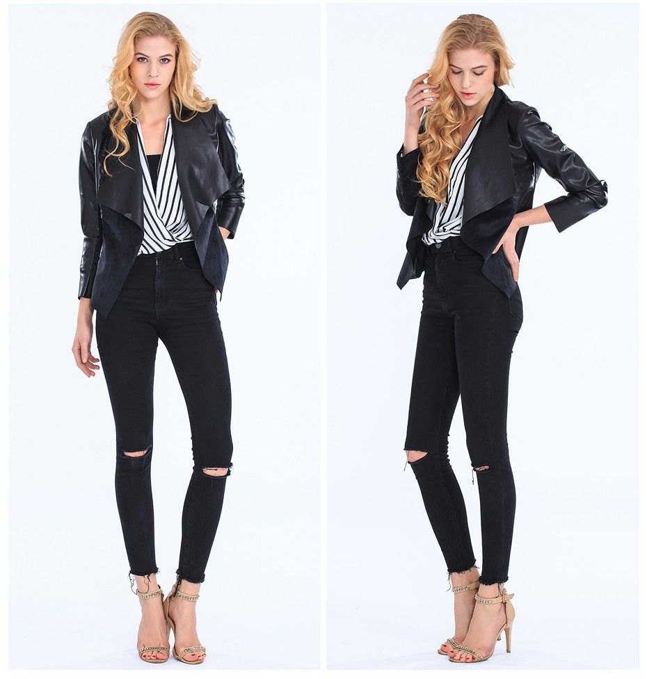 c273ade7383  67.8 - Nice Women Jackets Eliacher Brand Winter Spring Jacket Women 2017  Black Plus Size Casual Women Faux Leather Jacket Coat Winter Tops - Buy it  Now!