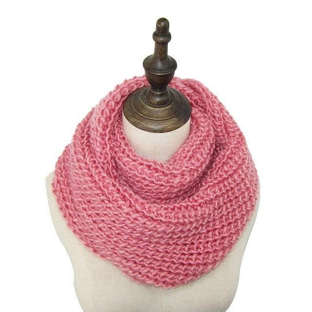 Unisex Winter Warm Two Circle Knit Cashmere Wool Neck Long Scarf Pashmina Shawl