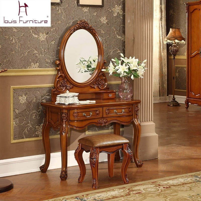 Antique European Style Carved Wood Vanity Set W Stool