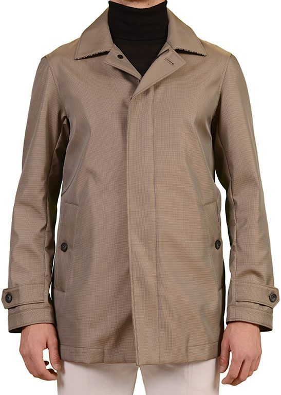 BELVEST Hand Made Taupe Micro Patterned Unlined Poly Storm Rain Coat 50 NEW 40
